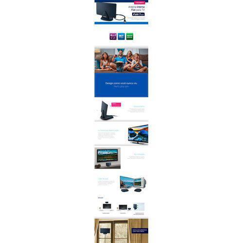 Tamanhos, Medidas e Dimensões do produto Antena Interna Digital Aquario DTV-200 Flat - 4 em 1 Vhf Uhf Fm Hdtv