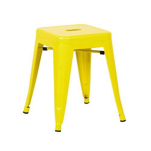 Tamanhos, Medidas e Dimensões do produto Banqueta Baixa Iron Tolix - Industrial - Aço - Vintage - Amarelo Claro