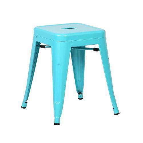 Tamanhos, Medidas e Dimensões do produto Banqueta Baixa Iron Tolix - Industrial - Aço - Vintage - Azul Tiffany
