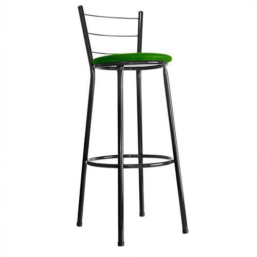 Tamanhos, Medidas e Dimensões do produto Banqueta Bistrô Aço em Pintura Epóxi Preta com Assento Verde