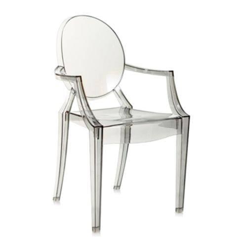 Tamanhos, Medidas e Dimensões do produto Cadeira Acrílica Louis Ghost - com Braços - Sophia - Fumê