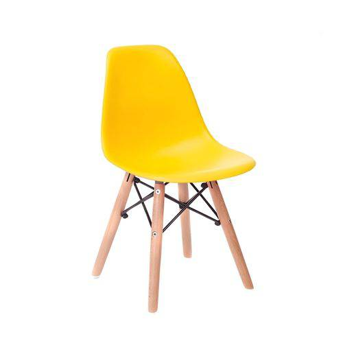 Tamanhos, Medidas e Dimensões do produto Cadeira Infantil Eames Junior - Amarelo com Base de Madeira Natural