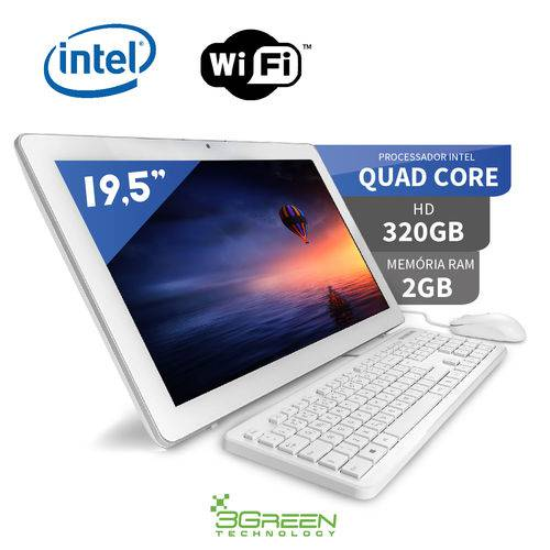 Tamanhos, Medidas e Dimensões do produto Computador All In One 19.5 Intel Quad Core 2gb 320gb Wifi Webcam Alto Falante 3green