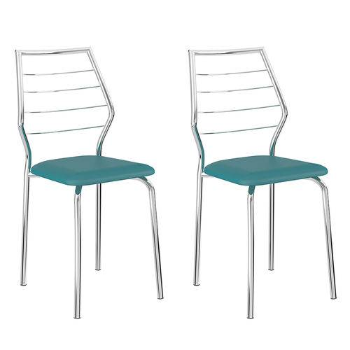 Tamanhos, Medidas e Dimensões do produto Conjunto 2 Cadeiras 1716 Casual Napa Turquesa Cromado