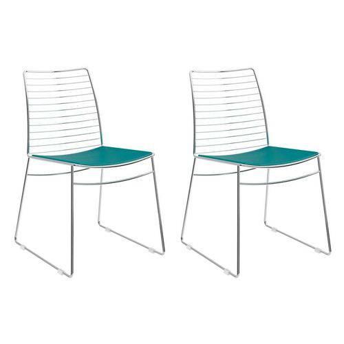 Tamanhos, Medidas e Dimensões do produto Conjunto com 2 Cadeiras Dance Courino Turquesa