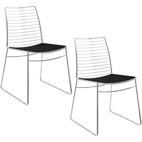 Tamanhos, Medidas e Dimensões do produto Conjunto de 2 Cadeiras 1712 Cromado – Carraro - Preto