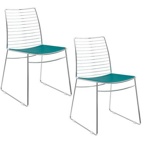 Tamanhos, Medidas e Dimensões do produto Conjunto de 2 Cadeiras 1712 Cromado – Carraro - Turquesa