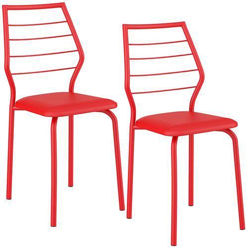 Tamanhos, Medidas e Dimensões do produto Conjunto de 2 Cadeiras 1716 – Carraro - Vermelho Real