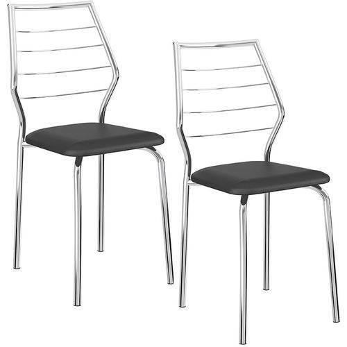 Tamanhos, Medidas e Dimensões do produto Conjunto de 2 Cadeiras 1716 Cromado – Carraro - Preto
