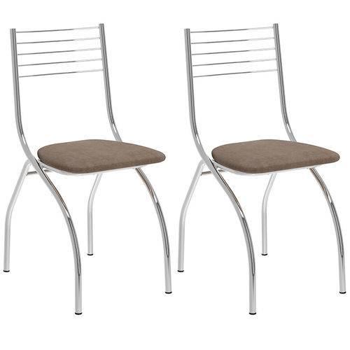 Tamanhos, Medidas e Dimensões do produto Conjunto de 2 Cadeiras Camurça 146 – Carraro - Camurça Conhaque