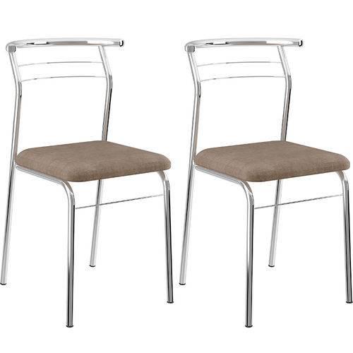 Tamanhos, Medidas e Dimensões do produto Conjunto de 2 Cadeiras Camurça 1708 – Carraro - Conhaque