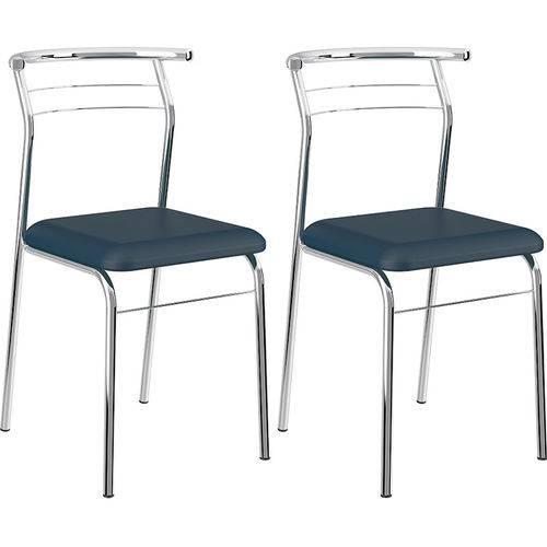 Tamanhos, Medidas e Dimensões do produto Conjunto de 2 Cadeiras Napa Cromado 1708 – Carraro - Azul Noturno