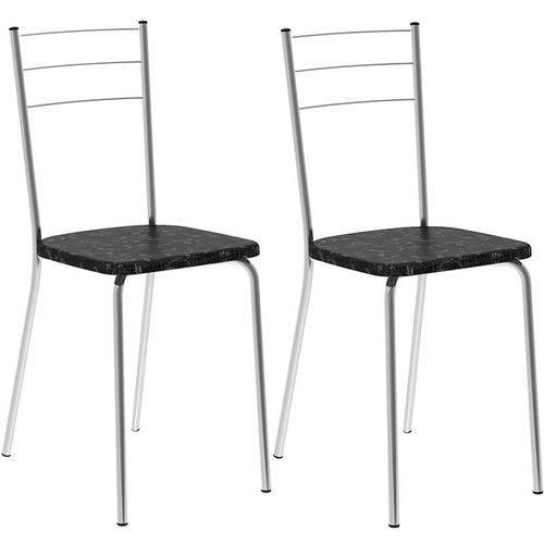 Tamanhos, Medidas e Dimensões do produto Conjunto de 2 Cadeiras Tecil 703 – Carraro - Preto Fantasia