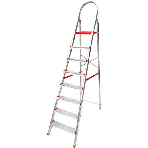 Tamanhos, Medidas e Dimensões do produto Escada de 8 Degraus Botafogo Lar&Lazer Suprema - Alumínio