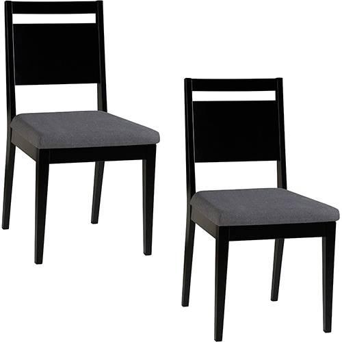 Tamanhos, Medidas e Dimensões do produto Kit 2 Cadeiras Sofia Preto com Assento Cinza - Orb