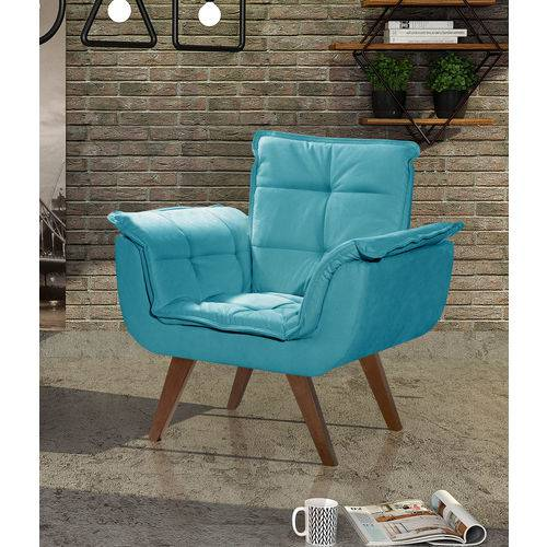 Tamanhos, Medidas e Dimensões do produto Poltrona Opalla Azul 01 Lugar, Base Palito Imbuia
