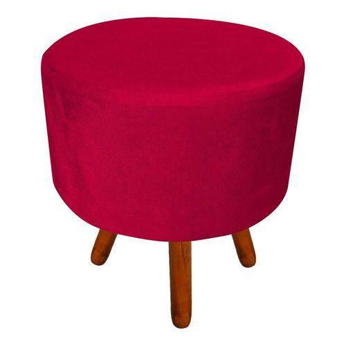 Tamanhos, Medidas e Dimensões do produto Puff Banqueta Decorativa Dora Redondo Suede Vermelho - D'Rossi