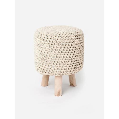 Tamanhos, Medidas e Dimensões do produto Puff Crochet C/ Pé de Madeira Bege