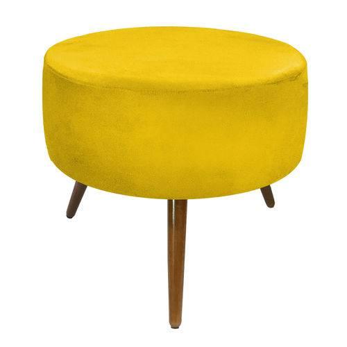 Tamanhos, Medidas e Dimensões do produto Puff Decorativo Sofia Redondo Suede Amarelo - D'Rossi