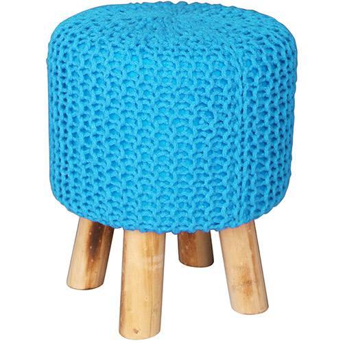 Tamanhos, Medidas e Dimensões do produto Puff Redondo Crochet Madeira/Espuma com Pés Azul - Urban