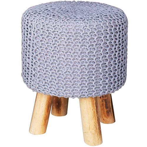 Tamanhos, Medidas e Dimensões do produto Puff Redondo Crochet Madeira/Espuma com Pés Cinza - Urban
