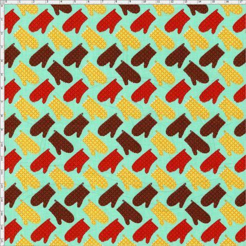 Tamanhos, Medidas e Dimensões do produto Tecido Estampado para Patchwork - Coleção Cozinha Luvas Mediterrâneo (0,50x1,40)
