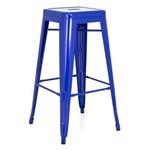 Banqueta Alta Iron Tolix - Industrial - Aço - Vintage - Azul Escuro
