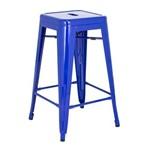 Banqueta Iron Tolix 66 Cm - Industrial - Aço - Vintage - Azul Escuro