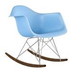 Cadeira Eames RAR Balanço - Azul Claro - Madeira Clara