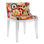 Cadeira Mademoiselle - Base Madeira - Assento Floral Rosa