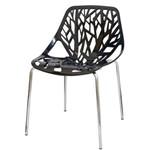 Cadeira Planta Preta Base Cromada - 15108