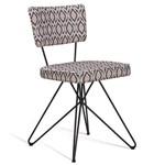 Cadeira Retrô Butterfly com Pés de Aço Preto - Cinza/bege