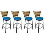 Conjunto 2 Banquetas Eleganza Junco Cappuccino Assento Azul - Itagold