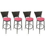 Conjunto 4 Banquetas Eleganza Junco Preto Assento Pink - Itagold