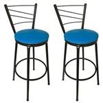 Conjunto 2 Banquetas Clássica Tubo Preto com Assento Azul - Itagold