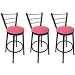 Conjunto 3 Banquetas Concept Tubo Preto com Assento Pink - Itagold