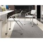 Conjunto 2 Cadeiras Carraro 1713 para Escritório - Cromado/Fantasia Branco