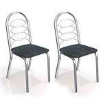Conjunto 2 Cadeiras Holanda Cromado Preto Linho Cinza