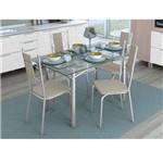 Conjunto de Mesa com 4 Cadeiras Marthe Cromado com Linho Marrom