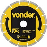Disco de Corte Diamantado Segmentado Corte a Seco V3 180mm Vonder