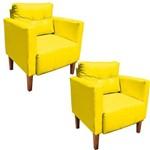 Kit 02 Poltrona Decorativa Lívia para Sala e Recepção Corino Amarelo - D'Rossi
