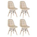 KIT - 4 X Cadeiras Estofadas Eames Botonê - Eiffel - Nude - Madeira Clara