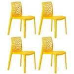 KIT - 4 X Cadeiras Gruvyer - Polipropileno - Amarelo