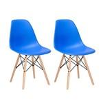 Kit - 2 X Cadeiras Charles Eames Eiffel DSW - Azul - Madeira Clara