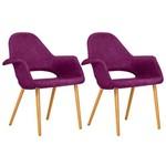 KIT - 2 X Cadeiras Estofadas - Saarinen - Orgânica - Lilás