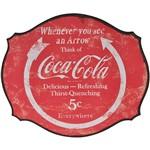 Placa de Parede Madeira 44,5 X 38 Cm Circle Arrow Coca-Cola