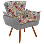 Poltrona Decorativa Opala Suede Composê Estampado Floral Color D17 e Bege - D'Rossi