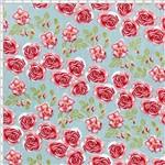 Tecido Estampado para Patchwork - Coleção Cherry Roses Acqua (0,50x1,40)
