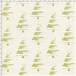 Tecido Estampado para Patchwork - Natal Árvores Creme (0,50x1,40)